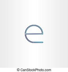 blue small letter e line icon design