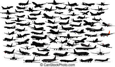 Ninety Airplane silhouettes. Vector illustration.