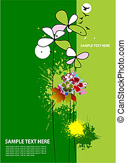 Cover for brochure with grunge floral background