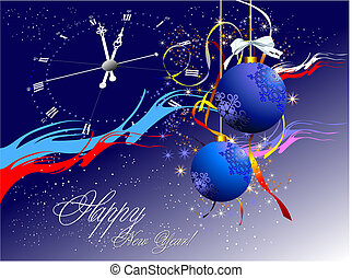 Christmas New Year night Vector illustration