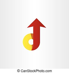 red yellow letter d arrow icon symbol design