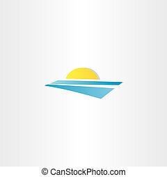 tourism summer sun water logo vector element
