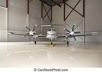 Private aircraft in an airport
