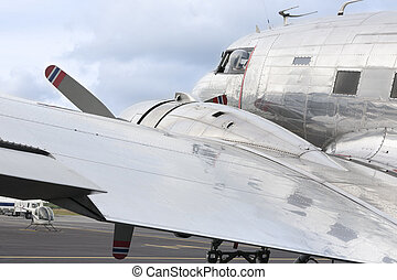 Detail of a silver aircraft - Detail of a shiny silver...