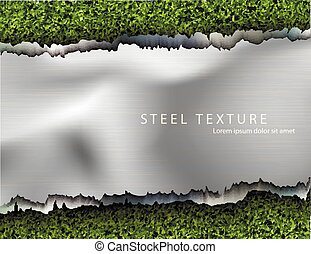 metall background with shadows and grass - text from the...