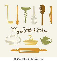 Kitchen Utensil - Various kitchen utensils, chief hat and...