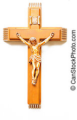 Wooden crucifix - A wooden crucifix with the lettering INRI...
