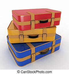 vit, isolerat,  suitcases