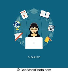 flat elements of education with gi - Flat design modern...
