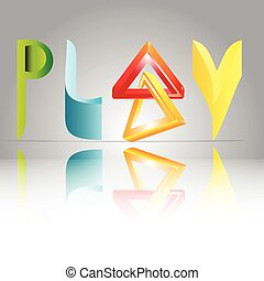 3-D play logo - a vector illustration of 3-D word play,...