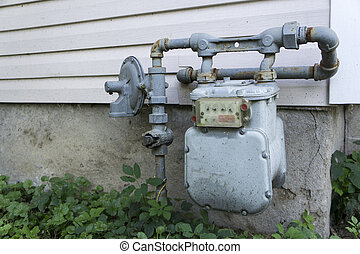 Residential Home Gas Meter - Older residential gas meter on...