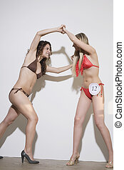 Two Bikini Contest Participants Fighting