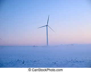 Alternative energy wind mills in the snow - Alternative...