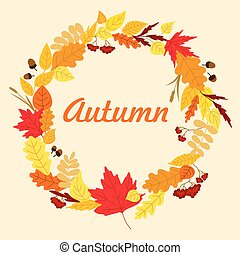 Autumnal leaves wreath with acorns - Autumnal wreath frame...