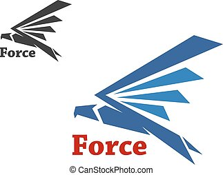Force symbol with blue falcon - Abstract force symbol with...
