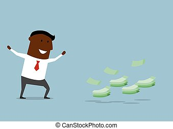 Happy cartoon businessman found money - Joyful african...