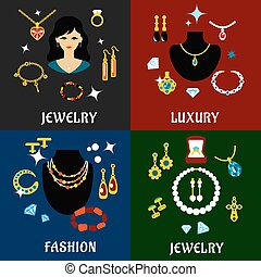 Jewelry and accessories flat icons - Fashion luxury jewelry...