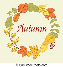 Frame border of autumn leaves and clovers - Frame border of...