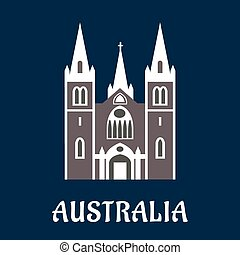 Australian cathedral church flat icon - Australian landmark...