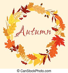 Autumn frame with leaves, herbs and acorns - Colorful autumn...