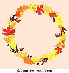 Frame with autumn falling leaves - Colorful autumn falling...