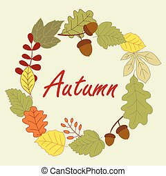 Season frame with autumn leaves - Autumnal frame composed by...