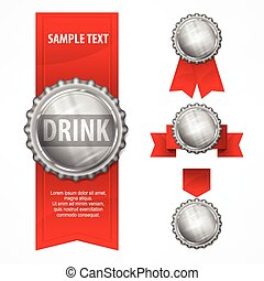 Bottle caps - Metallic bottle caps with red ribbon on white...