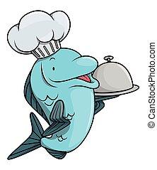 pez, caricatura, Ilustración