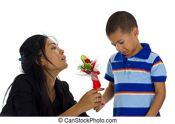 small boy apologising to his mother, isolated on white