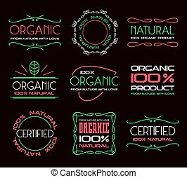 Set of labels for organic products