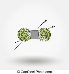 Skein of yarn for knitting and needles. Icon for web and...