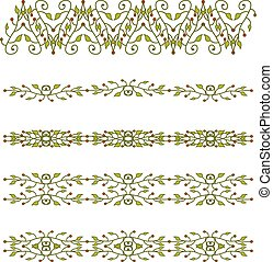 floral branch border.eps - Set of floral branch border
