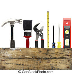 Work tools - Assorted work tools and wood