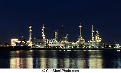 Oil refinery plant illuminated at night