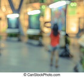 Blur image of shopping mall with shining lights - Blurred...