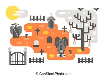 Flat design Halloween infographic elements illustration...