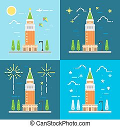 Saint Mark's campanile flat design illustration vector