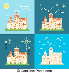 Bran castle germany flat design