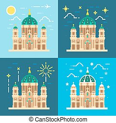 Berliner Dom cathedral flat design illustration vector