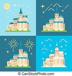 Mont Saint Michel flat design illustration vector