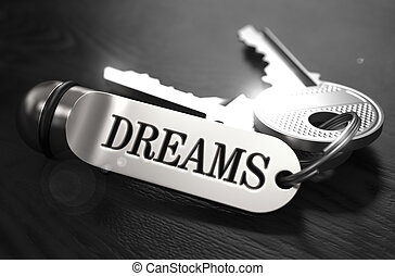 Keys to Dreams Concept on Golden Keychain. - Keys to Dreams...