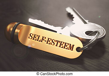Self-Esteem - Bunch of Keys with Text on Golden Keychain....