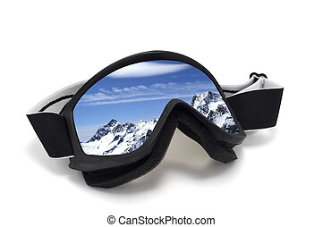 Ski goggles with reflection of mountains. Isolated on white...