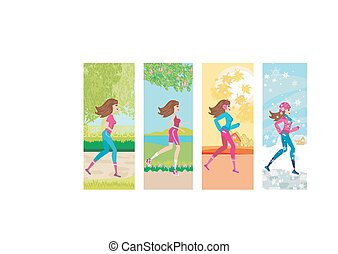woman jogging, four seasons