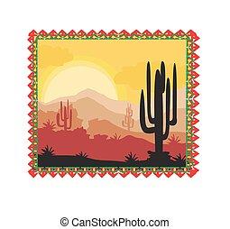 Desert wild nature landscape with cactus
