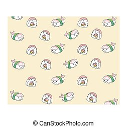 Japanese food , cartoon seamless pattern background