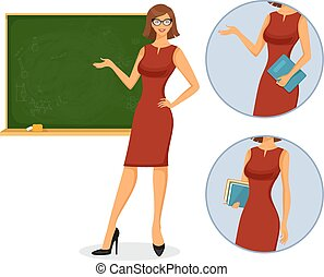 Female teacher with blackboard - Vector illustration of...