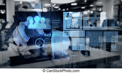 engineer businessman working on modern technology as concept...