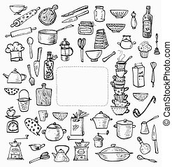 Big set of kitchen utensils hand-drawn on white. Cups,...