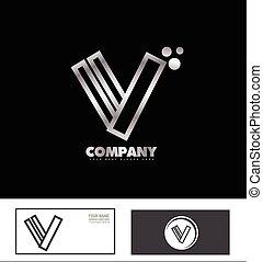 Letter V logo silver metal